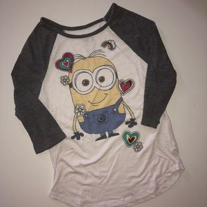 Girls Minion 3/4 sleeve tee